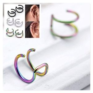 multi color ear cuff earrings